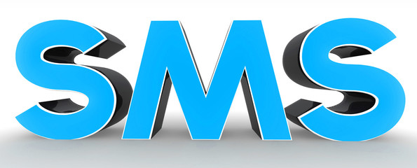 3D SMS text on white background