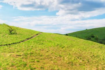 Scenery of rolling hills landscape.