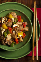 Chicken stir fry with vegetables, five spices and cashew nuts