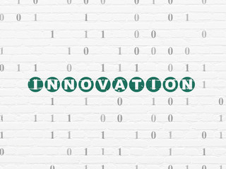 Finance concept: Innovation on wall background