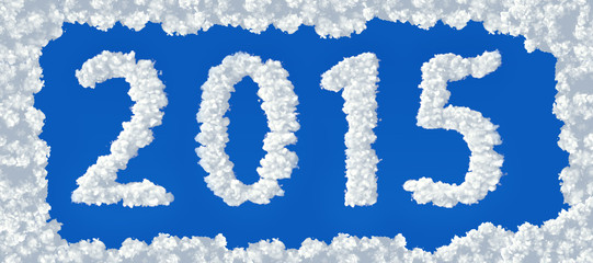 2015 clouds  on a blue background