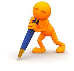 3d Guy: Holding a Giant Pen