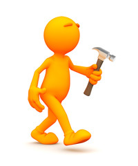 Orange Guy: Working With A Hammer