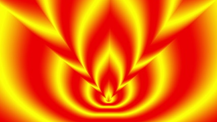 Oncoming shifted three symbols red-yellow blurred flame
