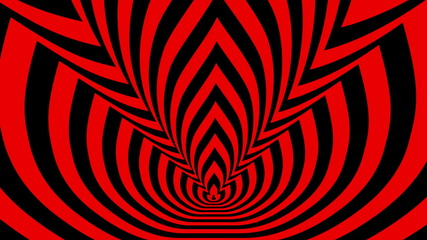 Concentric oncoming shifted nine symbols red-black flame