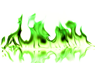 green flame on white background