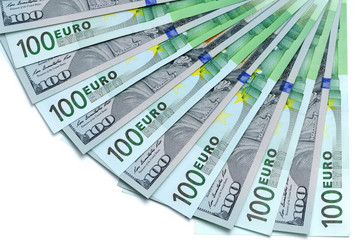 Banknotes of 100 US dollars and 100 euro lie a fan