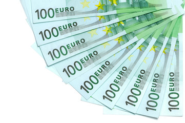 Banknotes of 100 euro are located around as fan