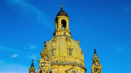 Timelapse of clouds move over the Frauenkirche in Dresden