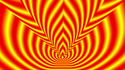 Concentric oncoming shifted symbols red-yellow blurred flame