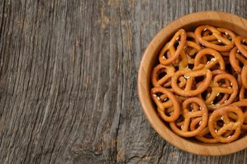 Bowl of salty pretzels