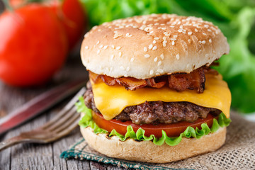 Bacon burger with beef cutlet