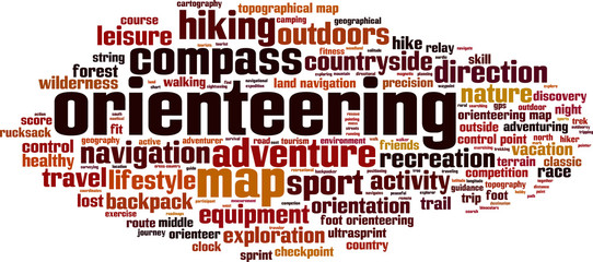 Orienteering word cloud concept. Vector illustration