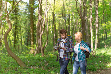 Hiking and looking at map