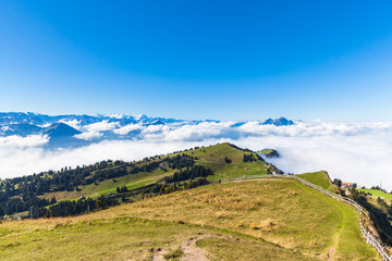 Panorama view of the alps on op of Rigi