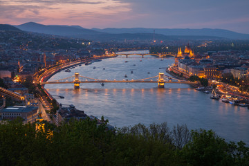 Budapest and Danube with Chain Bridge at night