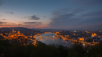 Budapest and Danube at night
