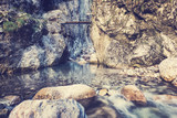 Waterfall in Alps, Austria - vintage effect.
