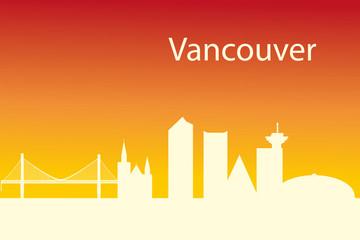 Vancouver skyline - black and white vector illustration
