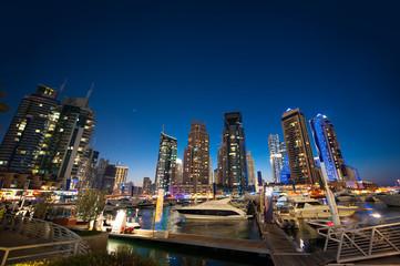 panoramic views of the night skyscrapers in Dubai