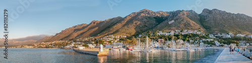 Panorama of Gordons Bay harbor and Hottentots-Holland Mountains - 82018279