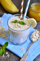 Banana smoothie with honey and oats.
