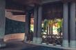 lobby interior of luxury hotel reception.  tropical resort hall