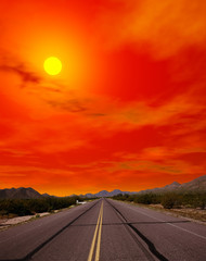 Sonora Desert Road Sunset