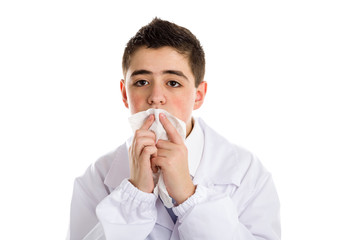 boy doctor cleaning his lips with handkerchief