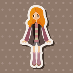 lady girl cartoon theme elements vector,eps