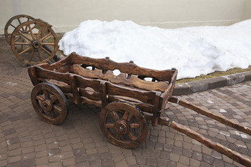 Historic wooden cart in Cultural ethnographic center My Russia.