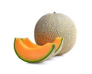 ripe melon on white background © dasuwan