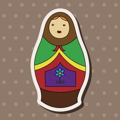Matryoshka, Russian traditional wooden doll, vector pattern, ele