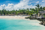 Relaxing on remote Tropical Paradise beach in Dominican Republic - 82026462
