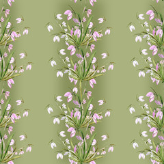 Spring snowdrops flowers seamless pattern