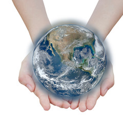 holding a glowing earth globe in hand.Elements of this image