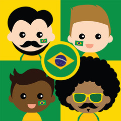 Group of happy Brazil's supporters