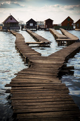 cottages on the shore of a lake
