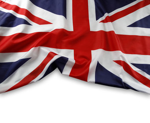 Union Jack flag on white