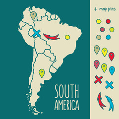 Vintage Hand drawn South America travel map with pins vector