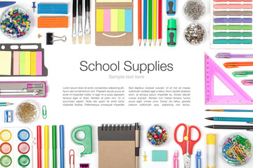 school supplies on white background top view