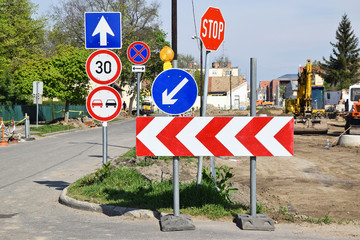 Traffic signs at the road construction