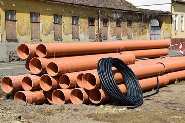 Plastic pipes at the road construction