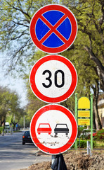 No overtaking, no stopping and speed limit traffic signs