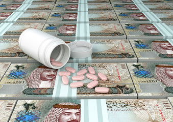 close up of 3D medicine, tablets pills on top of Bahrain Money