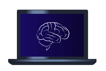Symbol of the brain on the laptop computer