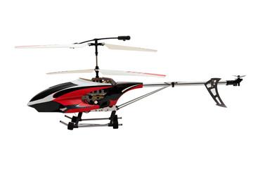 Радиоуправляемый вертолет на белом фоне.