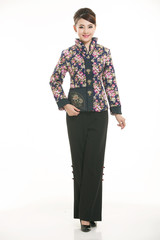 Wearing cotton padded jacket China lady in white background