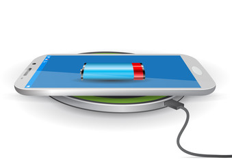 Wireless Battery Charger Pad with a Smartphone - Vector Illustra