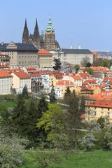 View on the spring Prague gothic Castle, Czech Republic